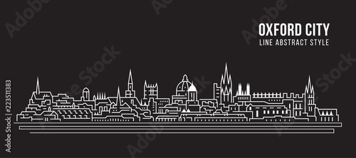 Fotografía Cityscape Building Line art Vector Illustration design - Oxford city