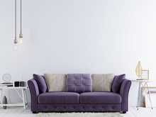 Empty Wall For Mock Up On A White Wall In Modern Hipster Interior With Violet Sofa And White Table.