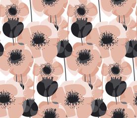 NaklejkaPastel pink poppy floral seamless pattern