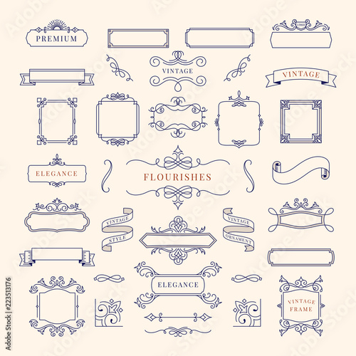 Fotografie, Obraz  Collection of vintage ornament frame illustration