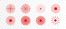 Vector Set Of Red Rings Icon For Medical Design On Transparent Background. Pain Circle To Mark Painful Body Parts.