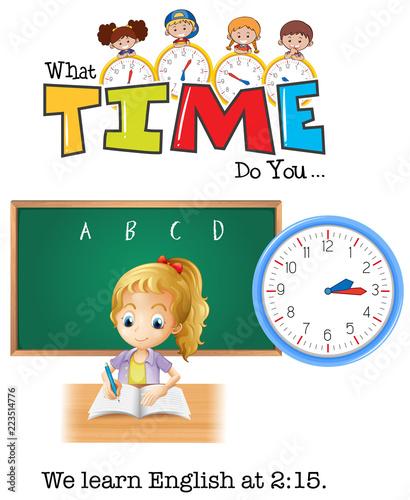 Fotobehang Kids A girl learn English at 2:15