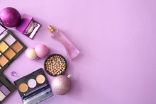 Set Of Cosmetics With Christma...
