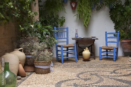 Fotografering Precioso patio andaluz con plantas, sillas de color azul, mesa de madera y vasijas colocadas en suelo de piedra con mosaico