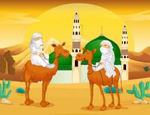 Muslim Men On Camels In The Desert