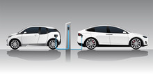 Two White Electric Cars With C...