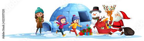 Keuken foto achterwand Kids Happy children receive present from santa