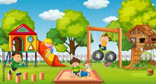 Keuken foto achterwand Kids Children playing in fun playground