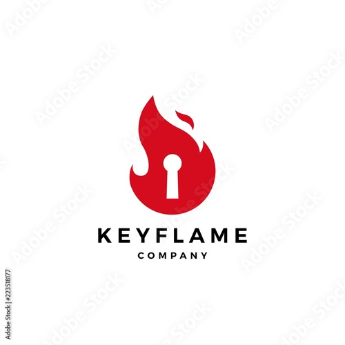 Leinwand Poster fire flame key logo icon