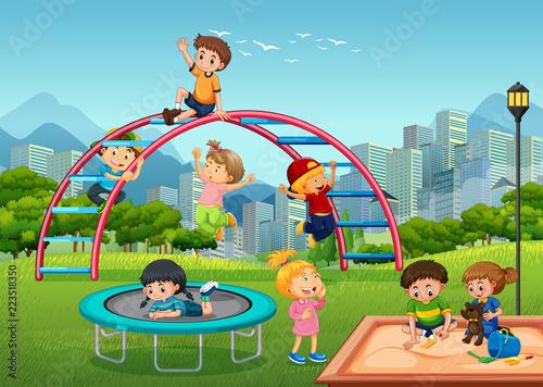 Keuken foto achterwand Kids Happy children in playground
