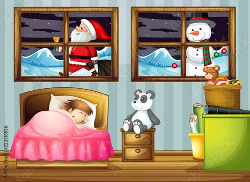 Keuken foto achterwand Kids Girl sleeping in bedroom