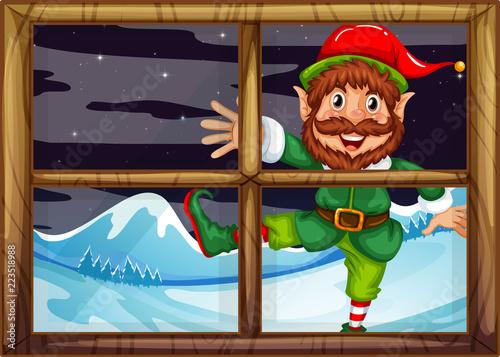 Keuken foto achterwand Kids A christmad elf outside window