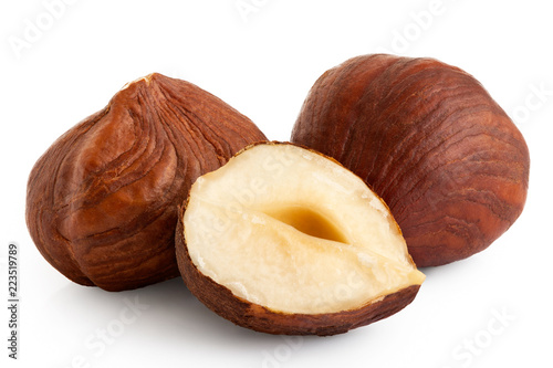 Fotografia Two and half hazelnuts with skin isolated on white. Closeup.