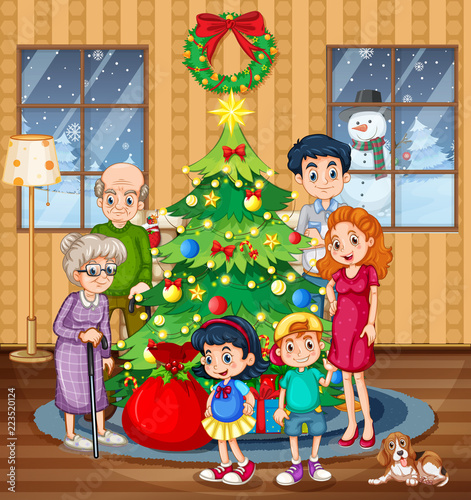 Spoed Foto op Canvas Kids A family celebrating christmas