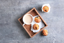 Wooden Tray With Tasty Blueber...