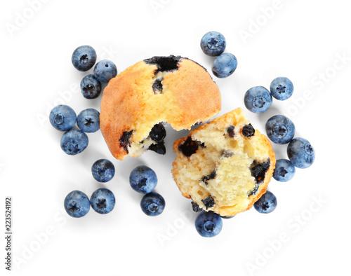Fotografie, Obraz Tasty blueberry muffin on white background