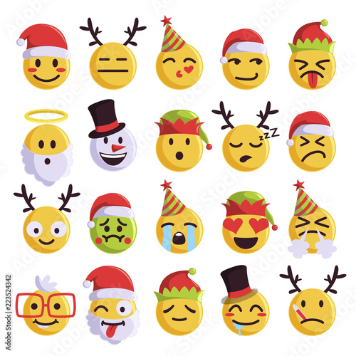 Canvas Print Christmas emoji funny and cute holiday set