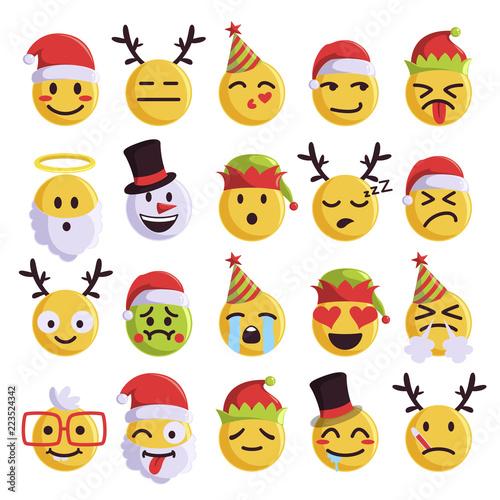 Photo Christmas emoji funny and cute holiday set