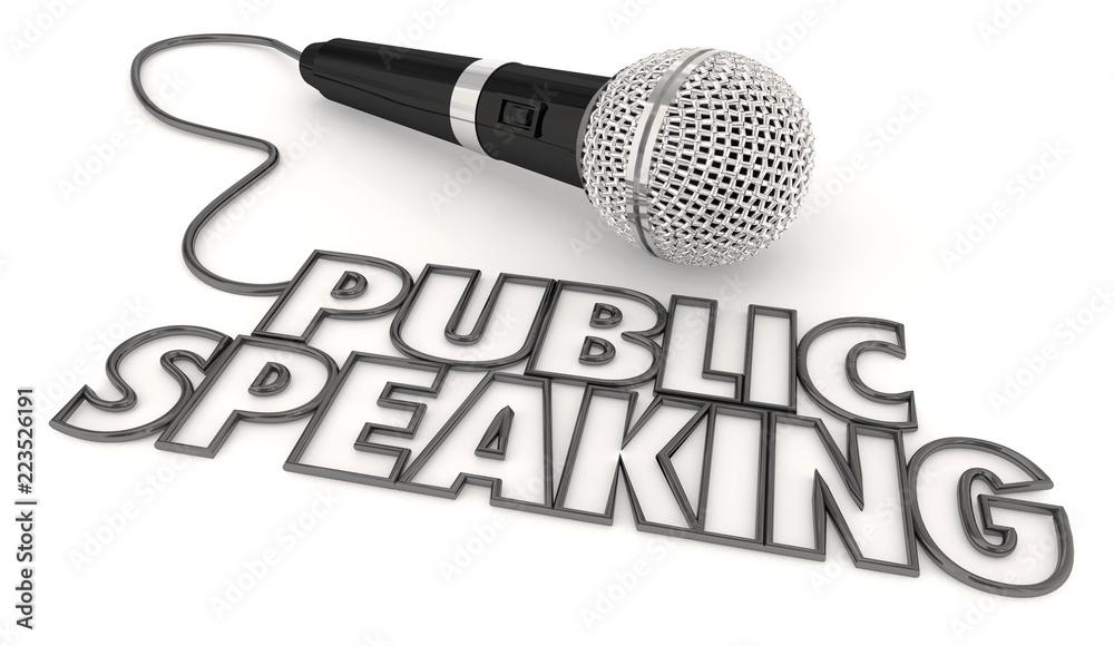 Fototapeta Public Speaking Microphone Fear Anxiety 3d Illustration