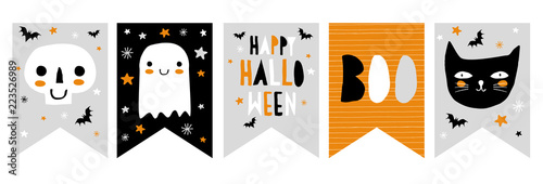 Funny Hand Drawn Halloween Vector Bunting Canvas-taulu