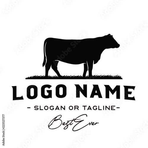 Canvas Print Vintage Cattle / Beef logo design inspiration vector