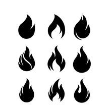 Fire Flames, Set Logo Design I...