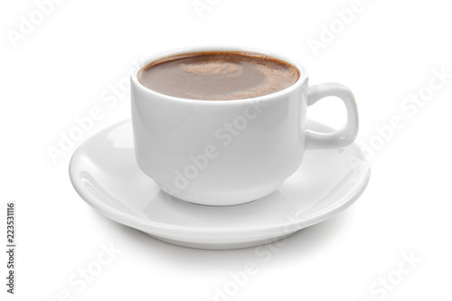 Foto op Canvas Chocolade Cup of hot chocolate on white background