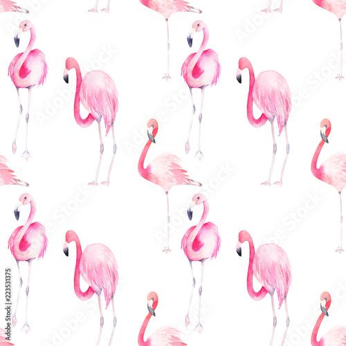 Canvas Prints Flamingo Summer seamless pattern. Watercolor flamingo print. Hand drawn illustration