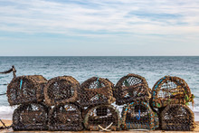 Lobster Pots Lined Up On A Bea...
