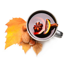Metal Cup Of Delicious Mulled Wine On White Background
