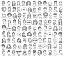 Set Of 100 Hand Drawn Faces, Diverse Portraits Of People Of Different Ethnicities In Black And White