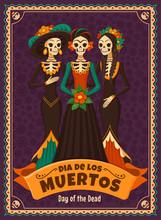 Dia De Los Muertos Card. Vecto...