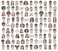 Set Of 100 Hand Drawn Faces, C...