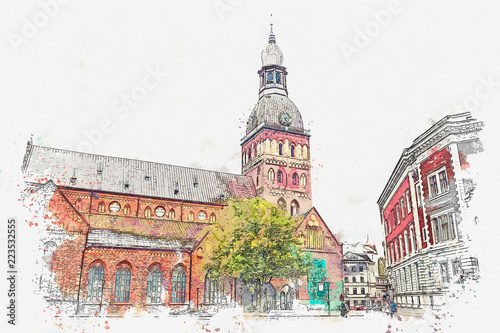 Fototapeta Watercolor sketch or illustration of the Dome Cathedral in Riga in Latvia