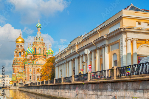 Fotografering  Cathedral of Our Savior on Spilled Blood and building of the State Russian Museu