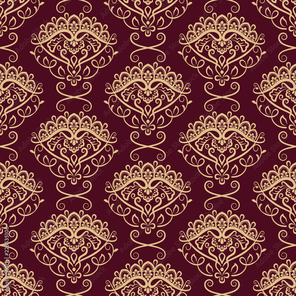 Seamless yellow and dark red floral wallpaper