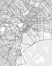 Vector City Map Of Tokyo In Black And White