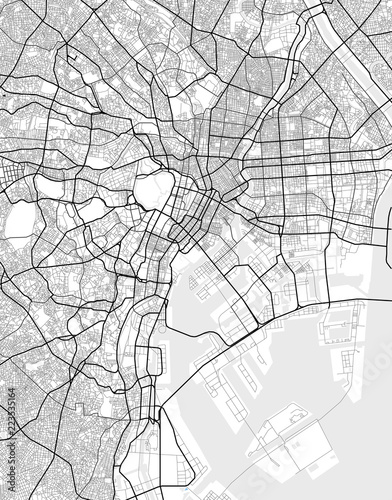 Vector city map of Tokyo in black and white Canvas Print