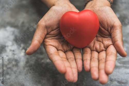 Fotografie, Obraz Close up female hands giving red heart as heart donor
