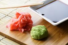 Soy Sauce, Ginger And Wasabi Closeup. Food Photography