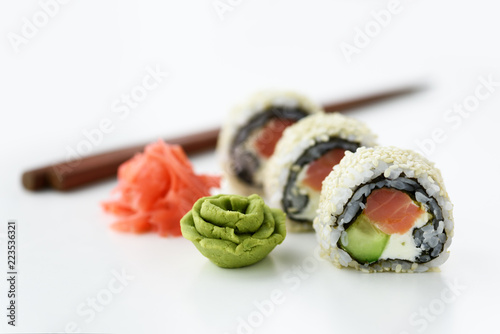 Sushi roll with ginger and wasabi closeup. Food photography Wallpaper Mural