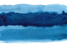 Blue Abstract Watercolor Background. Hand Painted Illustration.