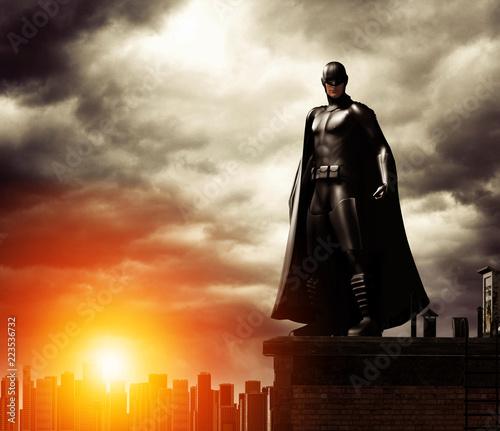 Dark Superhero on rooftop overlooking cityscape Canvas Print