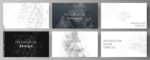 Fototapeta The minimalistic abstract editable vector layout of the presentation slides design business templates. Polygonal background with triangles, connecting dots and lines. Connection structure. obraz