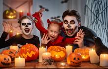 Family Celebrating Halloween