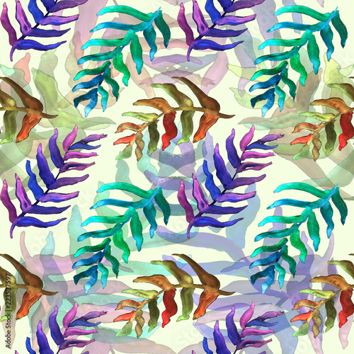 Deurstickers Paradijsvogel Summer tropical pattern, background with palm leaves.
