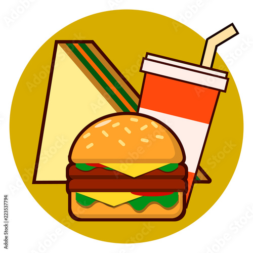Fotografiet  Cartoon fast food combo icon - hamburger, sandwich, soda vector illustration iso