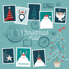 Cute Christmas Vector Stamps