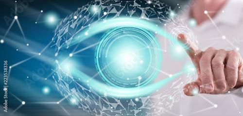 Obraz Man touching a digital eye concept - fototapety do salonu