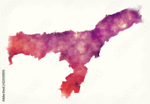 Photo Assam federal state watercolor map of India in front of a white background